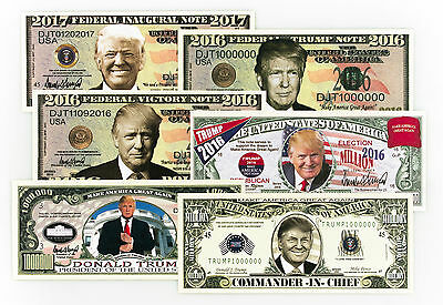 President Donald Trump 1 set of 6 diff. USA fantasy paper money