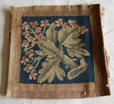 antique 19th century woven tapestry fragment flowers project or reference