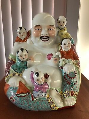VINTAGE CHINESE Porcelain LAUGHING BUDDHA with 5 CHILDREN STATUE