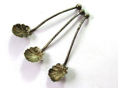 Antique 1900's Set of 3 Sterling Silver Scalloped Shell Salt Spoons #CIW