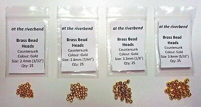 Gold Cyclops Brass Bead Heads in 2.4mm 2.8mm 3.2mm & 3.8mm for Fly Tying