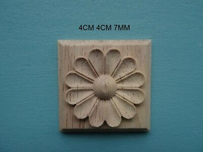 Decorative square flower tile wooden furniture moulding applique onlay DF16