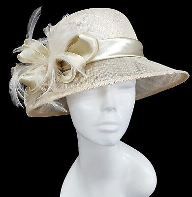 Women's Designer Medium Brim Church Wedding Kentucky Derby  Sinamay Hat Natural