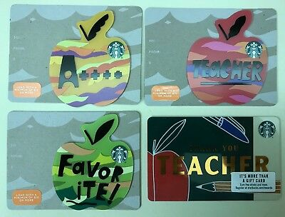 4 Starbucks 2018 Thank You Teacher 🍎 Gift Card Set Apple Die Cut Lot 6152 US