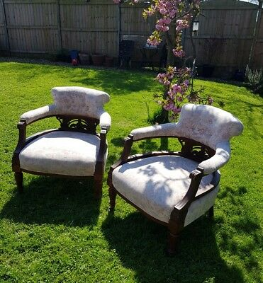 Edwardian Pair of TUB CHAIRS on original Castors