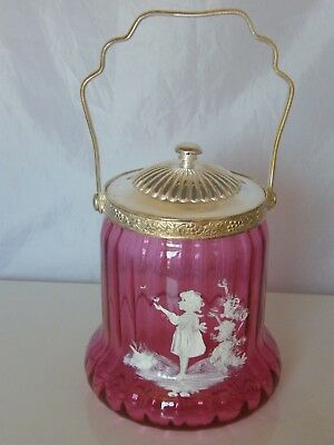 Silver Plate & Cranberry Glass Mary Gregory Style Biscuit Barrel
