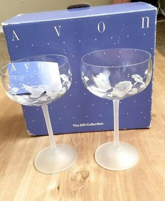 Vintage Avon 24% Lead Crystal Etched Hummingbird Saucer Champagne Glasses Pair