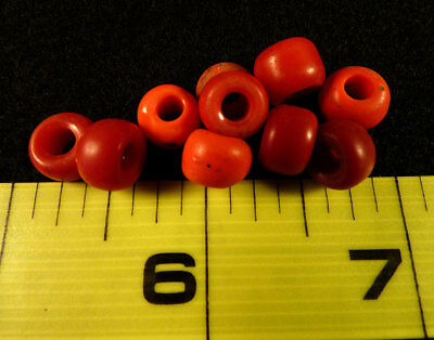 1800's Red Padre Indian Trade Beads 10 Count Old Authentic Beads