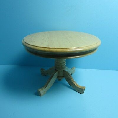 Dollhouse Miniature Kitchen / Dining Room Table Round Pedestal in Oak ~ T4259