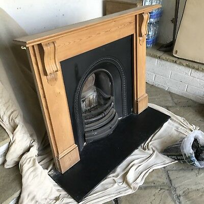 Fireplace - Pine Victorian Corbel Surround, Cast Iron Insert & Slate Hearth