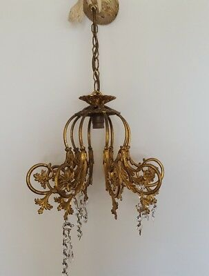 Vintage French Chandelier Gold Gilt Over Brass Crystal Glass Droplet Rococo Chic