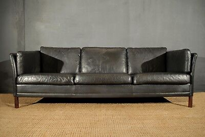 Danish Black Leather Sofa 3x Seater Vintage Retro