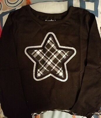 Black Long Sleeve Shirt with checkered Star on Front outlined in Glitter 3T