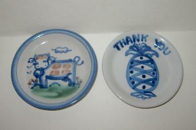 M A Hadley Pottery Louisville Ky Lot Plate Coaster Cow Thank you Vtg Signed