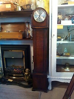 1930s granddaughter clock, Westminster chimes, silent option, balance wheel move