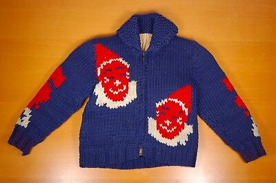 Vintage 1940s 1950s Child's Novelty Circus Sweater with Clowns and Elephants
