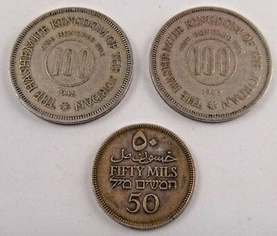 1927 Palestine 50 Mils & 2 (TWO) 1949 Jordan 100 Fils  Lot Of 3 Coins