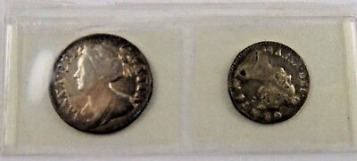 Great Britain 1710 Maundy Queen Anne Penny Two Pence Silver Coins Sealed