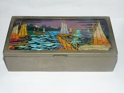 Great Art Deco 1924 Ornate Butterfly Wing Design Metal Wood Box In Harbour
