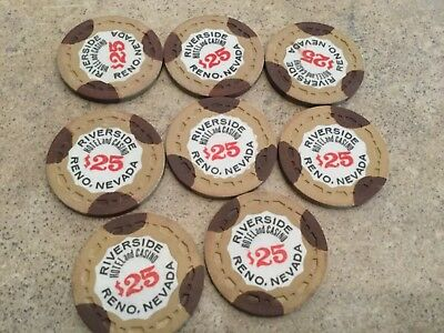 Reno $25  Riverside Hotel Casino Chip Poker Chips Lot Of 8  Gambling Chips