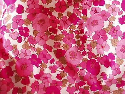 1980,s, fabric, bold pinks flower design, feel is like crimpoline, mixed fibres,