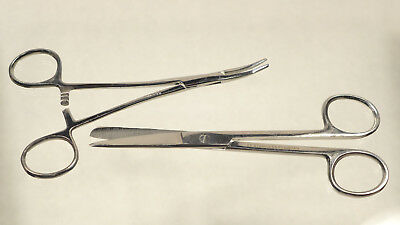 One Curved Kelly Clamp And One Medical Scissors