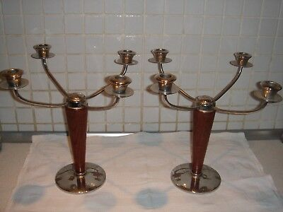 Pair Wood and INOX candle sticks