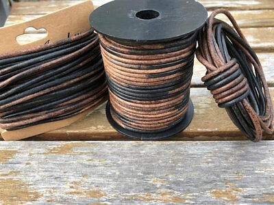 127 Kinte Gypsy Natural Dye Round Leather Cord 2mm 50 meters 27.34 yards