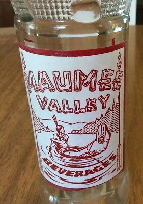 Maumee Valley Beverages 8oz ACL Soda Bottle Indian in Canoe 1940's Fort Wayne