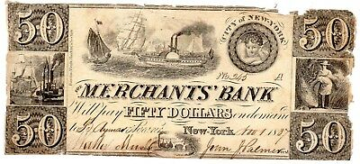 New York - Merchants Bank - $50.00 - 1837