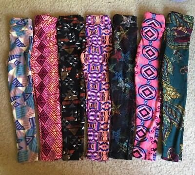 Lularoe Leggings Kids Small Medium 7 Pack Lot. Geometric And Paisley