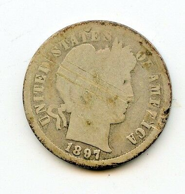 1897 S 90% SILVER BARBER DIME ~  GOOD DETAILS, OBV .SCRATCHES  ~  *hucky*