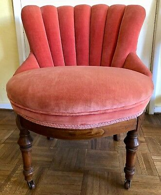 PHX Estate Sale Antique 19th C. Tufted Slipper Chair with walnut legs and wheels