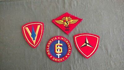 VIntage MARINE UNIFORM PATCHES lot of 4 NOT SURE  MAYBE WW2 TAKE A LOOK