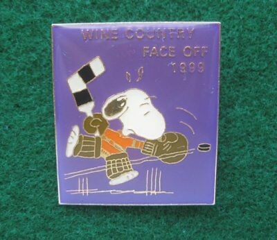 Snoopy Hockey Wine Country Face off 1999  ~ Souvenir Pin ~ Hat Tie Lapel 2576