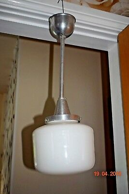 Art Deco  Large White Opake Lamp Salvaged From French Hotel