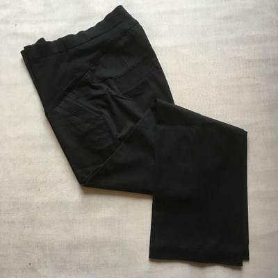 M&S Maternity Pregnancy Work Wide Leg Over Bump Smart Office Black Trousers 10