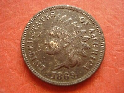 "1869 Indian Head Cent Full Readable word ""LIBERTY"""