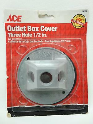 "NEW Ace 31661 Grey Round Three Hole 1/2"" All Weather Outlet Box Cover"
