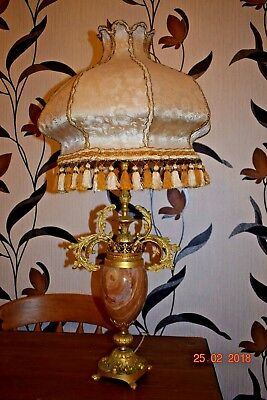 ANTIQUE FRENCH  MASSIVE LAMP MARBLE OVAL & BRONZE c1930 36 INS HIGH
