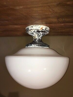 Antique Milk Glass Schoolhouse Ceiling Light Fixture VTG Art Deco Chandelier Old