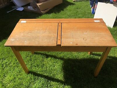 1950s Vintage double childs school desk with ink wells, lift up storage