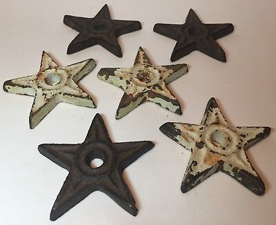 Vintage Cast Iron Architectural Star Anchor Lot of 6