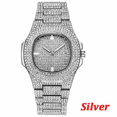 Gold Plated Men's simulated diamond hip hop rapper iced out Watch bling bling