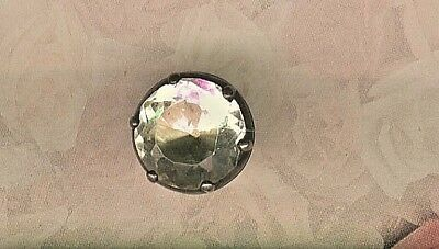 18th Century Round Rock Crystal Set in Silver Breeches Button
