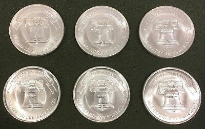 Lot of 6 - 1 Troy oz .999 Fine Silver A-Mark Liberty Bell Eagle Round