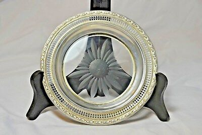 Antique vintage 1930's Whiting sterling silver wine bottle coaster Talisman Rose
