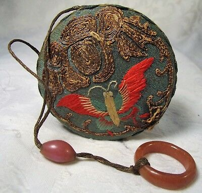 Antique Victorian Asian Hand Embroidered Butterfly Powder Box-Mirror Stone Loop