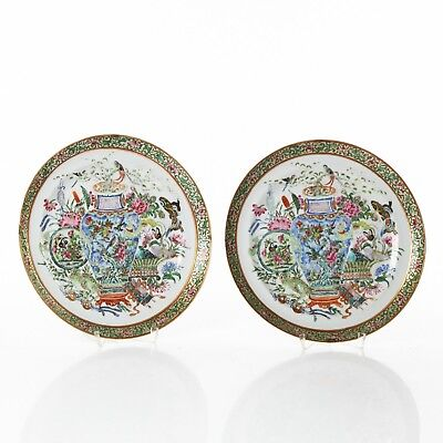 Qing Dynasty Chinese Antique - Pair of Canton Plates 24cm - Daoguang Period