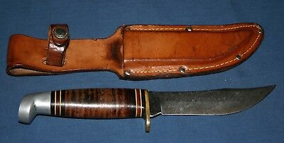 "Vintage WESTERN Hunting Skinning Knife with Sheath, Numbered L66, 4 ½"" Blade"